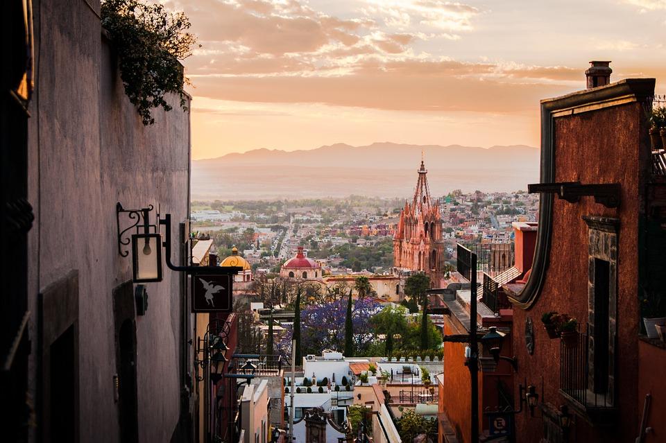 Mexico, San Miguel De Allende, Dusk, Church, Skyline