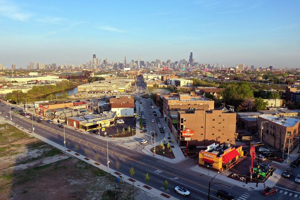 Chicago, West Side, Smog, Skyline, Skyscrapers, Haze