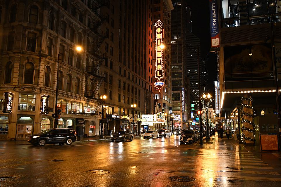 Chicago, Night, Lights, Christmas, City, Skyline