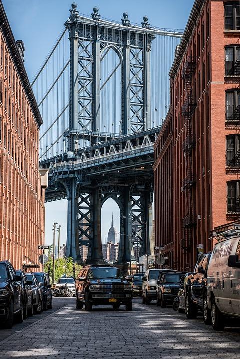 Usa, New York, Manhattan, Manhattan Bridge, Skyline