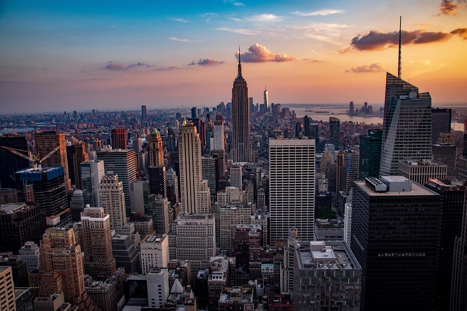Sunset, Manhattan, City, Skyline, Architecture, Usa