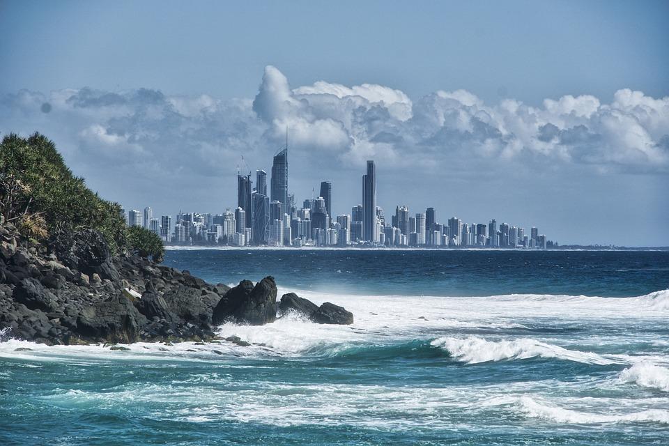 City, Skyline, Surf, Cityscape, Beach, Coast, Coastline
