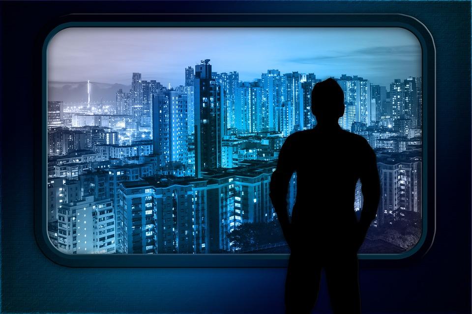 Skyline, Windows Hong-kong, Outlook, Top View, Man