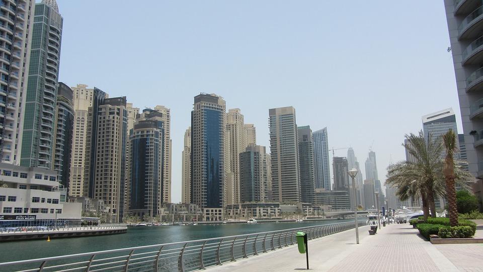 Sea, City, Buildings, Port, Skyscraper, Beach, Dubai