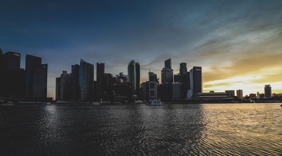 City, Singapore, Skyline, Sun, Sky, Skyscraper, Sea
