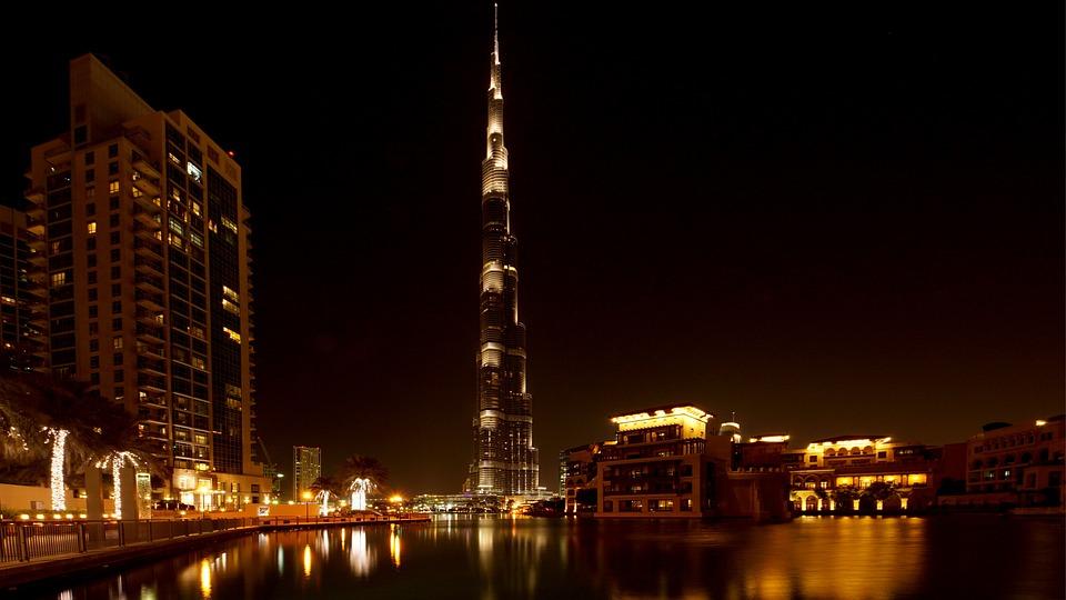 Dubai, Burj Khalifa, Skyscraper, Night, Light