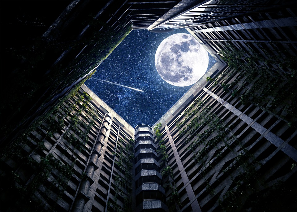 Night, Building, Skyscraper, Moon, Shooting Star, Sky
