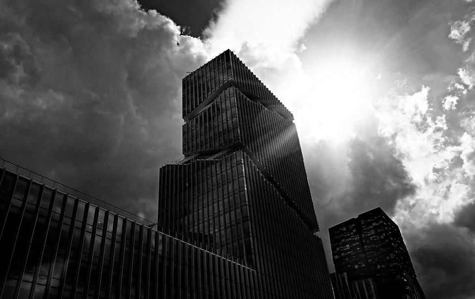 High Rise, Skyscraper, Tower, Silhouette, Clouds