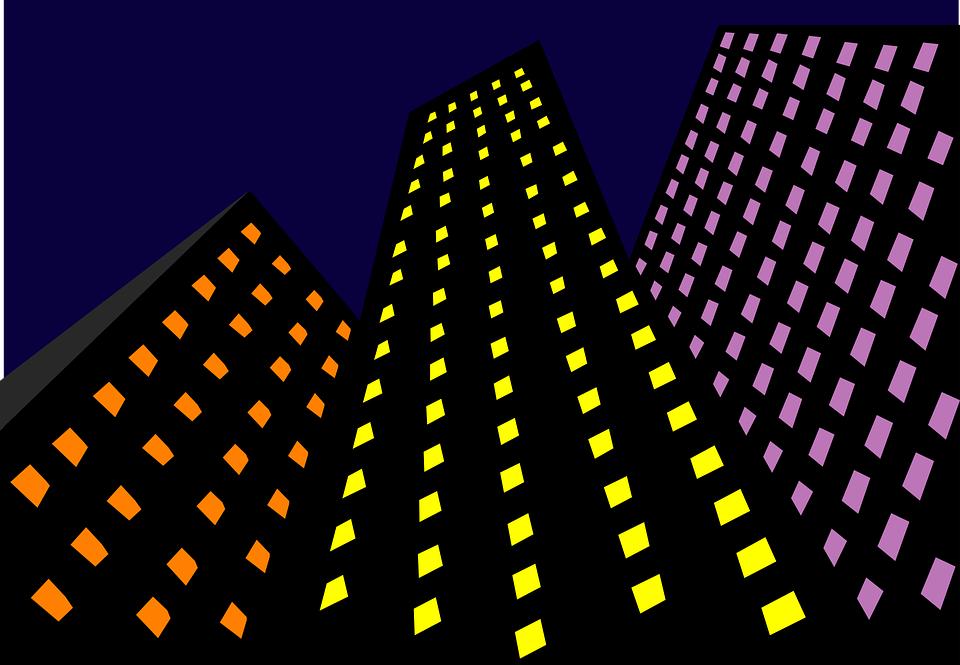 Skyscrapers, Light, Night, Architecture, Yellow, Purple