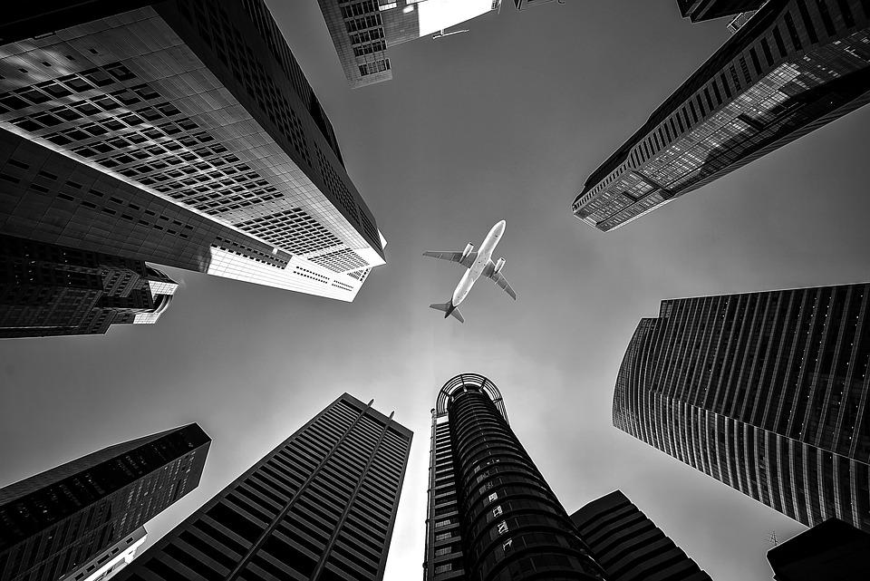 Airplane, Buildings, Perspective, Skyscrapers, Flight
