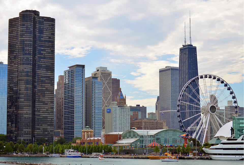 Chicago, Illinois, Skyline, Skyscrapers, City, Urban