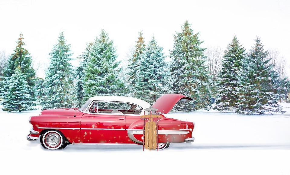 Red Vintage Car, Winter, Pines, Red Car, Snow, Sled