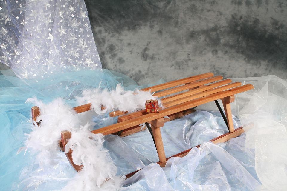 Sledge, Winter, Feather, Christmas, Photo Background