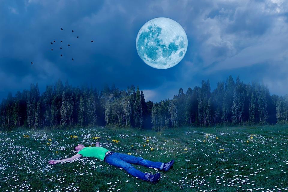 Sleep, Good Night, Man, Person, In The Free, Full Moon
