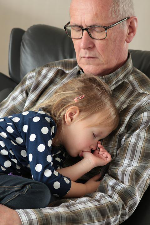 Grandfather, Sleep, Grandchild, Girl, Granddaughter