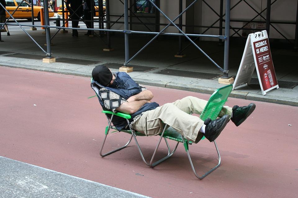 Sleeping Man, Public, Tired
