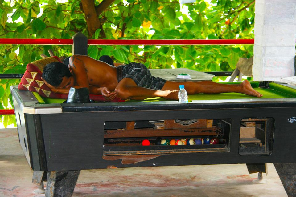 Sleeping, Pool Table, Thailand, Vacation, Lying, Relax