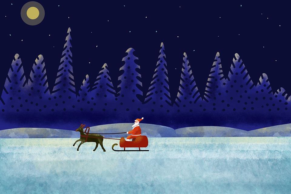 Santa, Rudolph, Christmas, Sleigh, Sledge, Winter, Eve