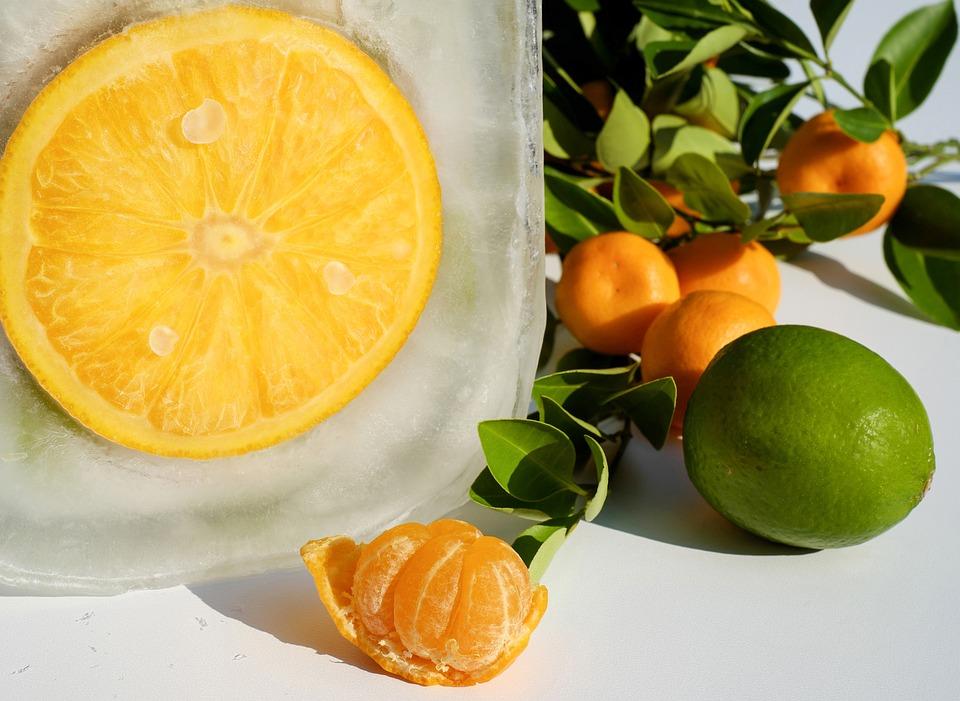 Orange, Fruit, Sliced, Frozen, Ice, Eiskristalle