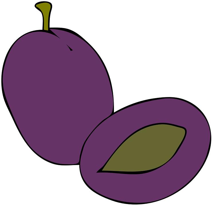 Plum, Purple, Fruit, Sliced, Cut