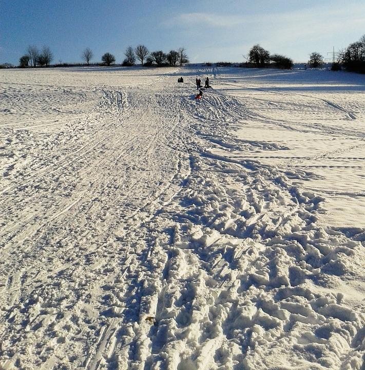 Slide, Tobogganing, Skihang, Children, Winter, Snow