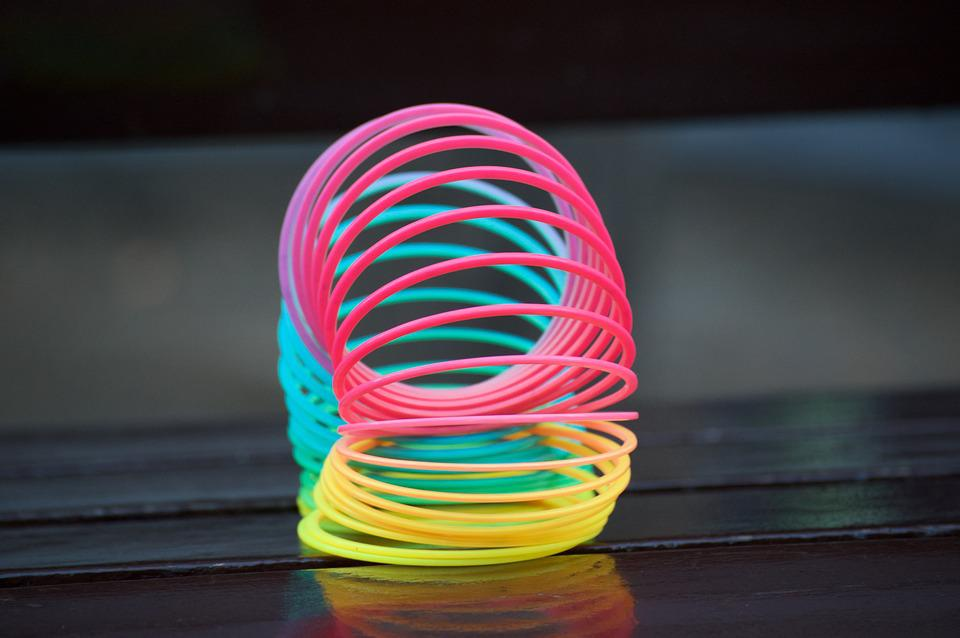 Colors, Rainbow, Spring, Slinky, Pink, Yellow, Blue