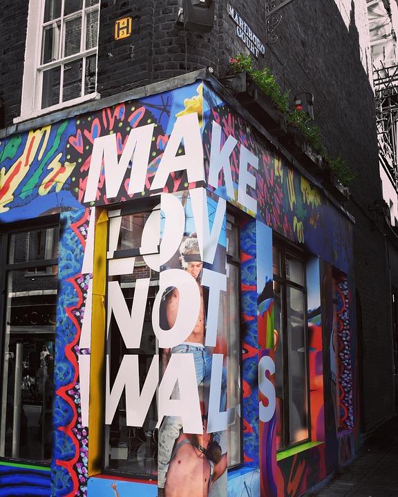 Wall, Corner Shop, Advert, Slogan