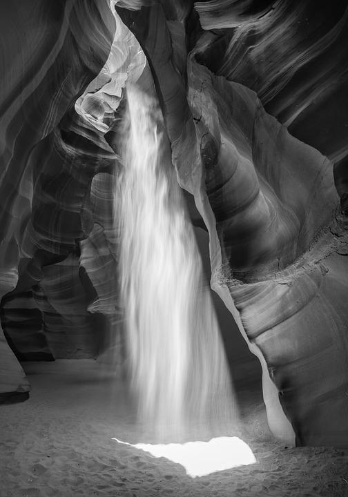 Slot Canyon, Black And White, Black, White, Nature