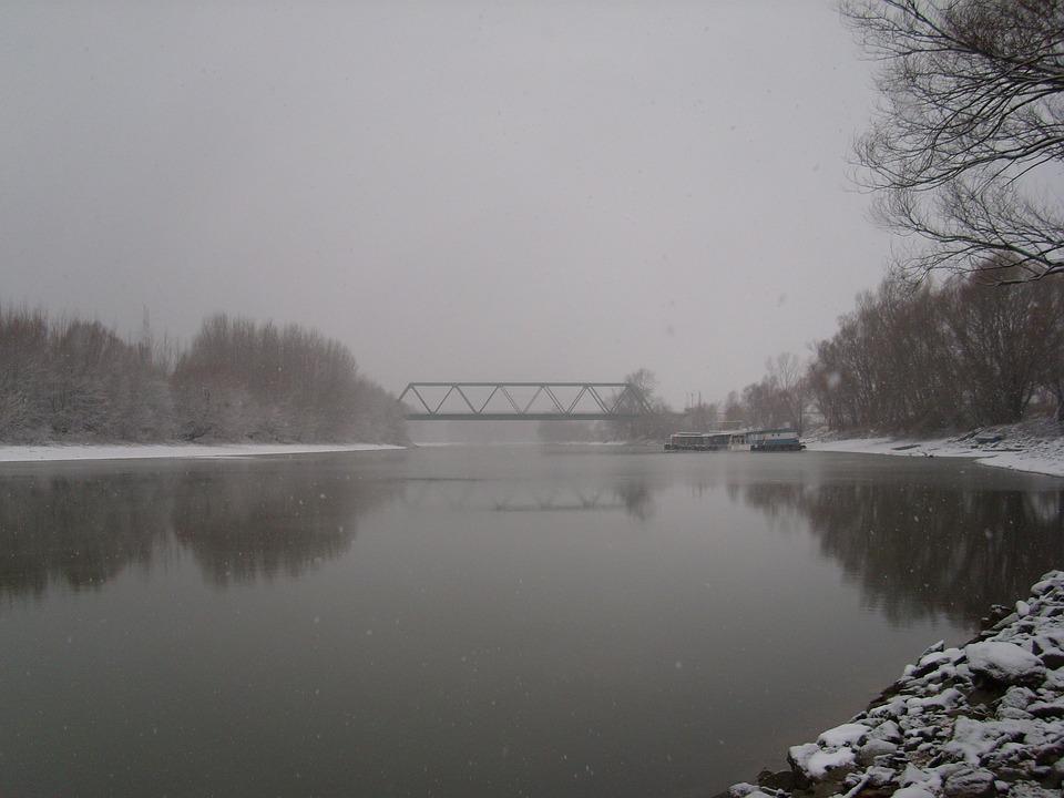 Bridge, Winter, Snow, River, Backwater, Slovakia, Snowy
