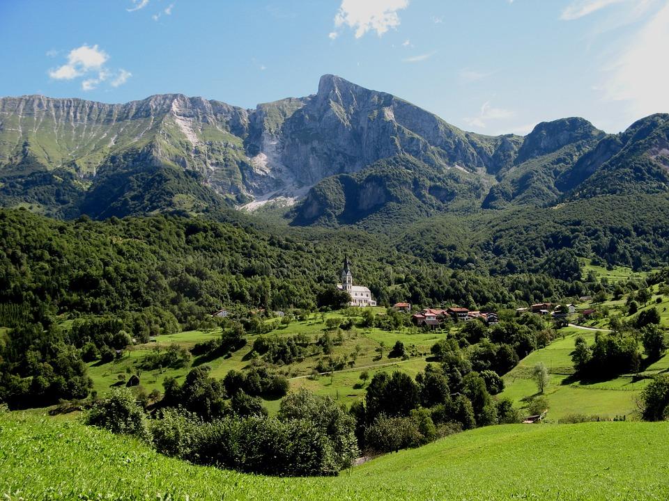 Slovenia, Church, Landscape, Kobarid, Drežnica, Summer