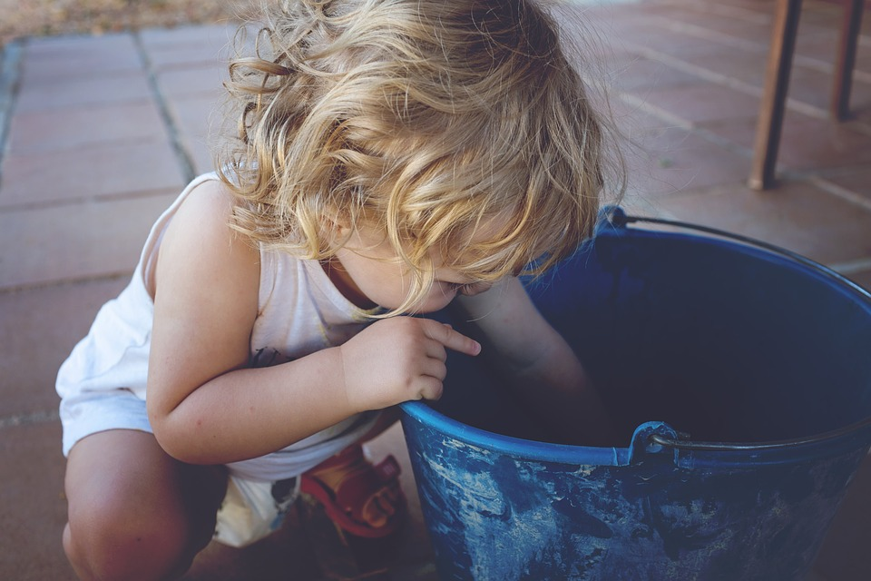 Blue, Playing, Child, Baby, Small, Blond, Bucket