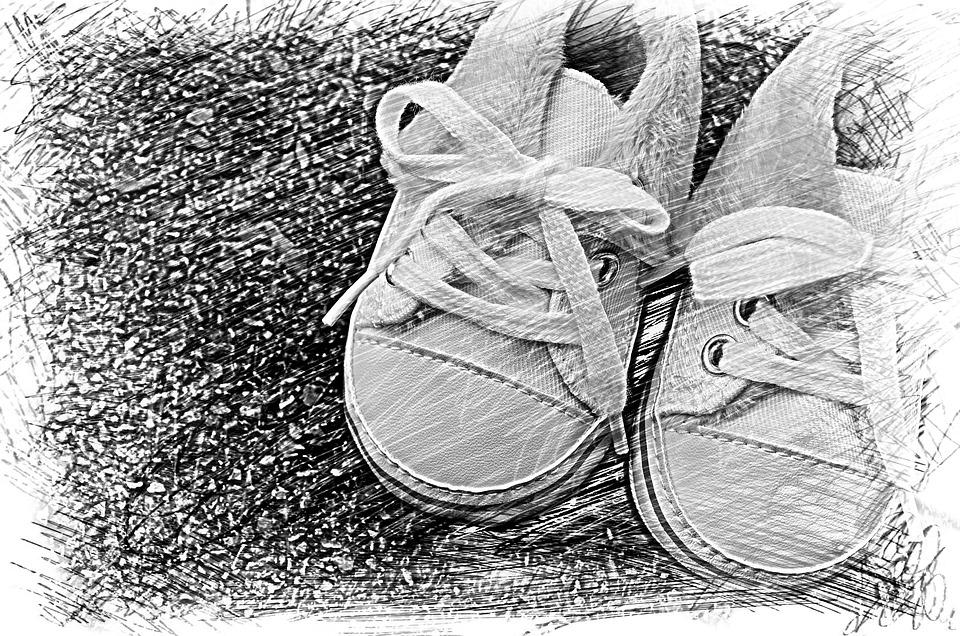Baby Shoes, Small, Baby, Greeting Card, Drawing
