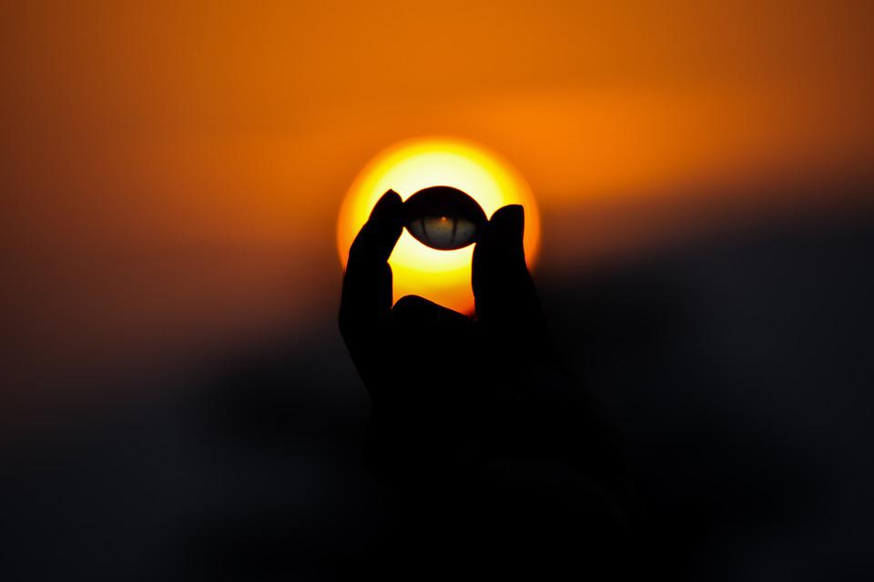 Hand, Small Ball, Sunlight, Sun, Orange Sky