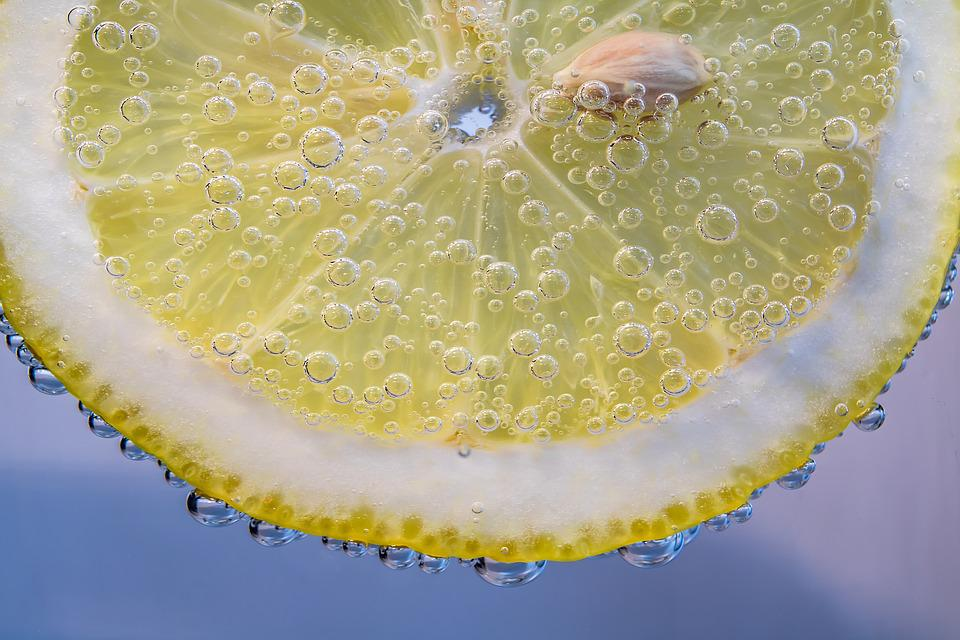 Slice Of Lemon, Lemon, Small Bubbles, In The Water, Wet