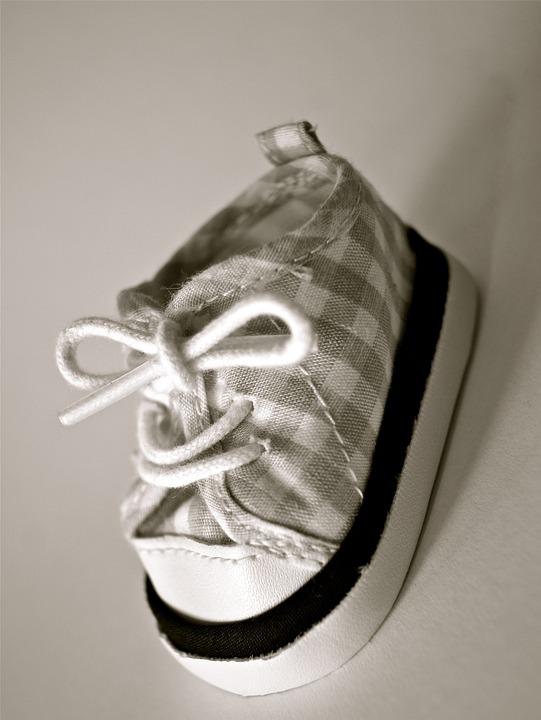 Shoe, Baby, Child, Clothing, Small, Black, White, Cute