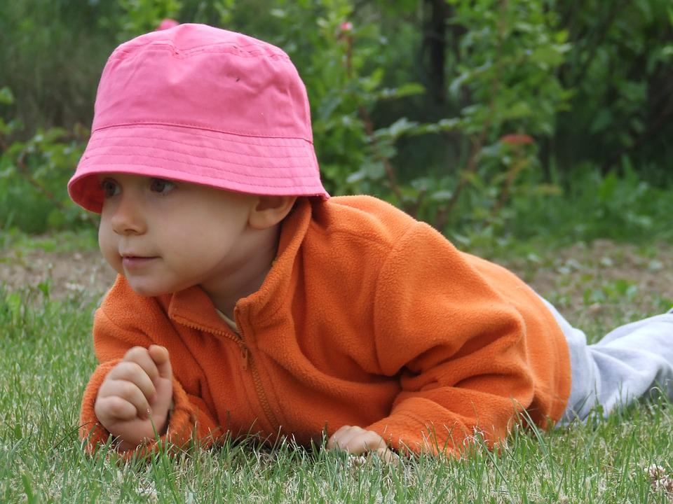 Child, Pink Cap, The Teat, Small, Crawl, Grass