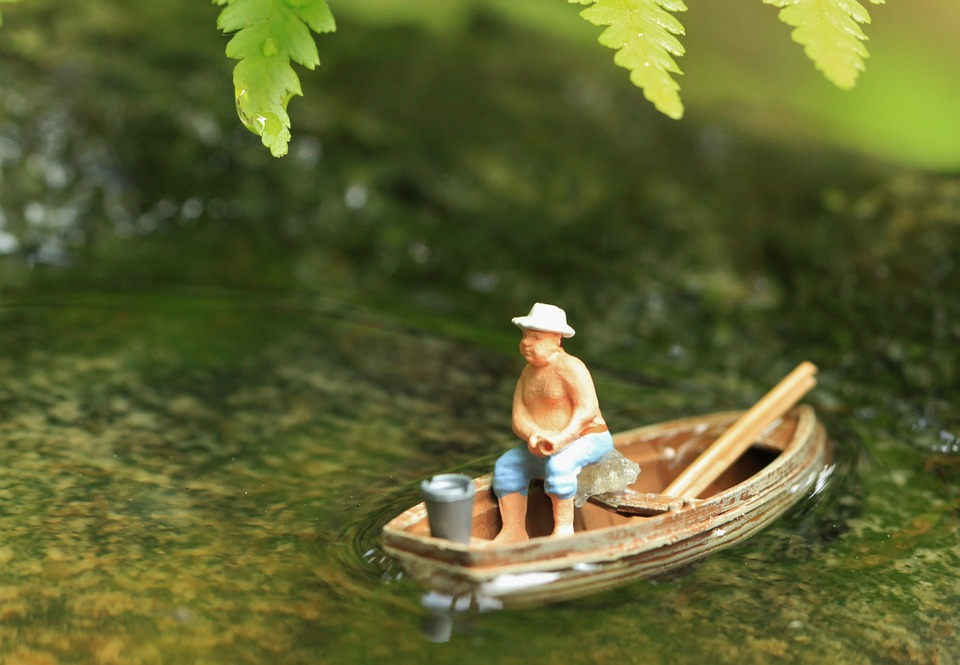 Boot, Water, Pond, Angler, Miniature, Mini, Small, Fig