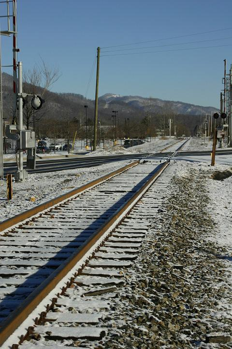 Railroad Tracks, Snow, Small Town, Winter