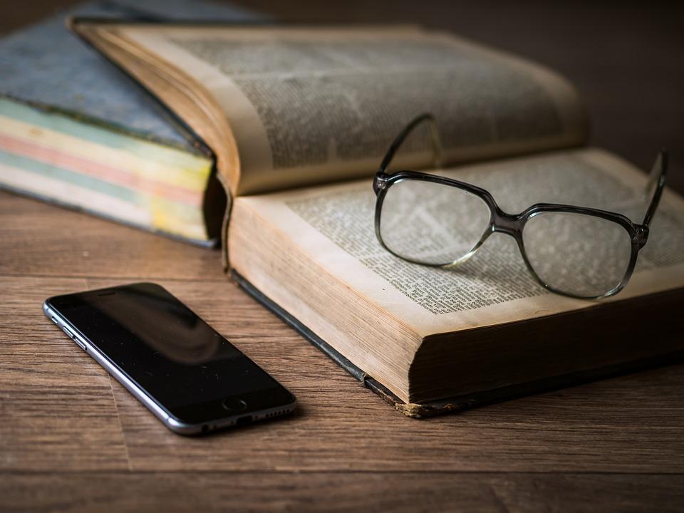 Glasses, Book, Phone, Iphone, Smartphone, Mobile Phone