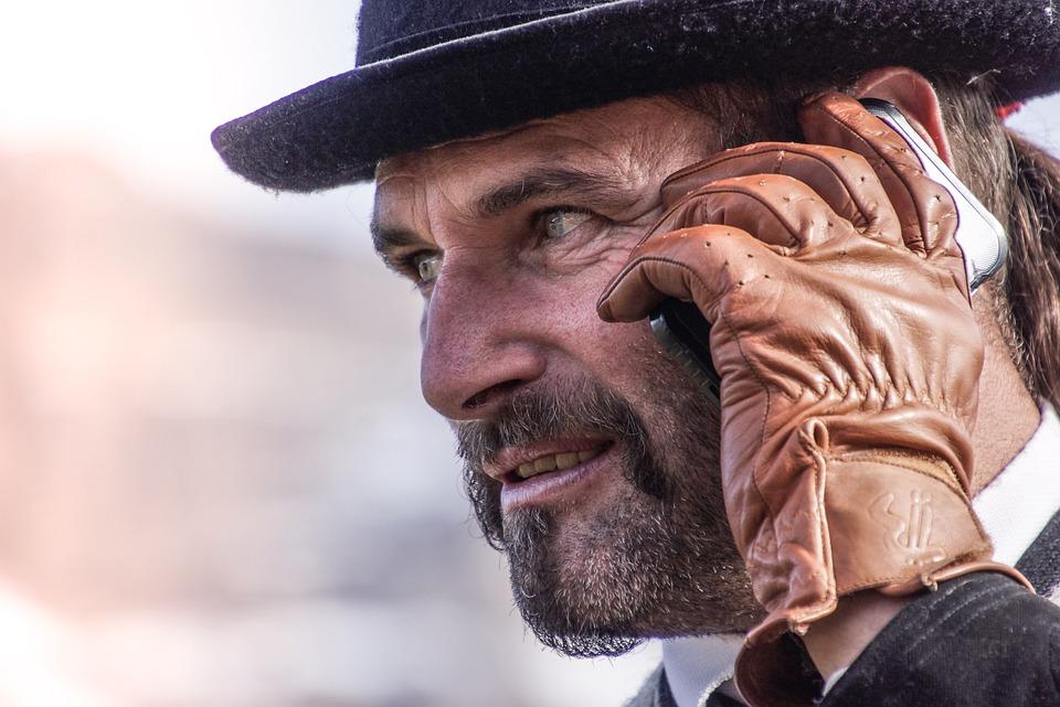 Man, Mobile Phone, Smartphone, Gloves, Beard, Mustache