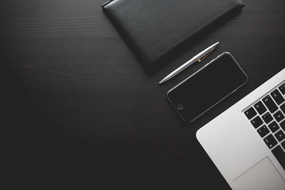Office, Desk, Smartphone, Modern, Black, Work, Business
