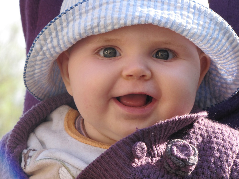 Baby, Child, Girl, Blue Hat, Hat, Smile, Smiling, Face
