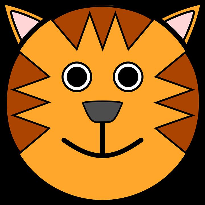 Head, Circle, Stripes, Tiger, Animal, Smile