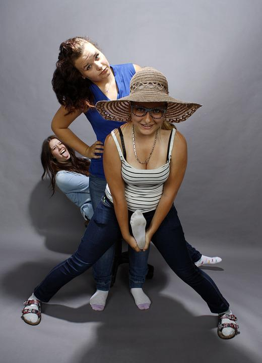 Girls, Smile, Mad, Hat
