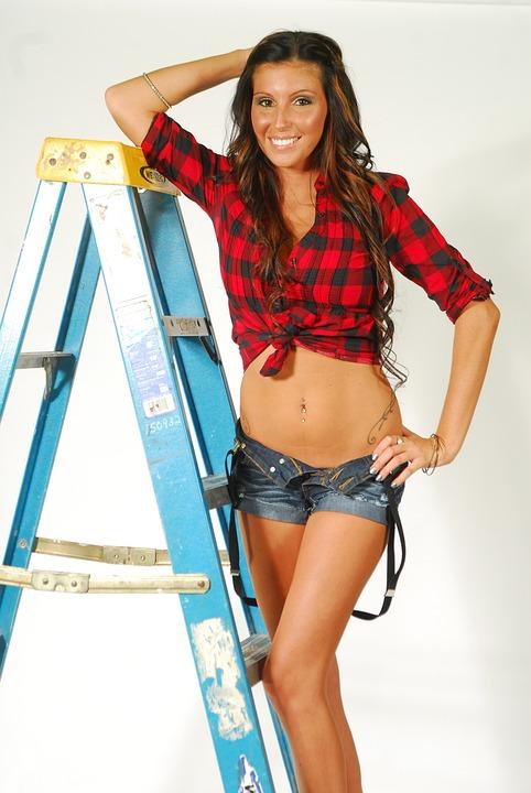 Ladder, Model, Attractive, Pretty, Smile, Happy, Plaid