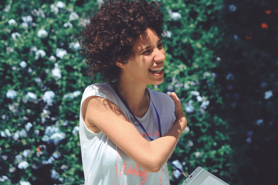 People, Girl, Female, Woman, Curly, Hair, Smile, Happy