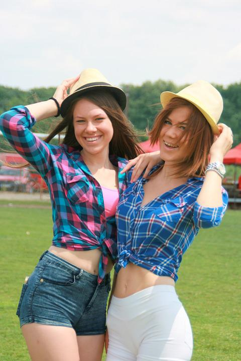 Girls, Cheerfulness, Summer, Smile, Beauty, Hats