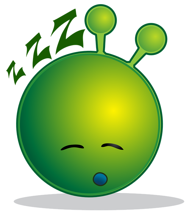 Alien, Smiley, Green, Sleepy, Sleeping, Tired