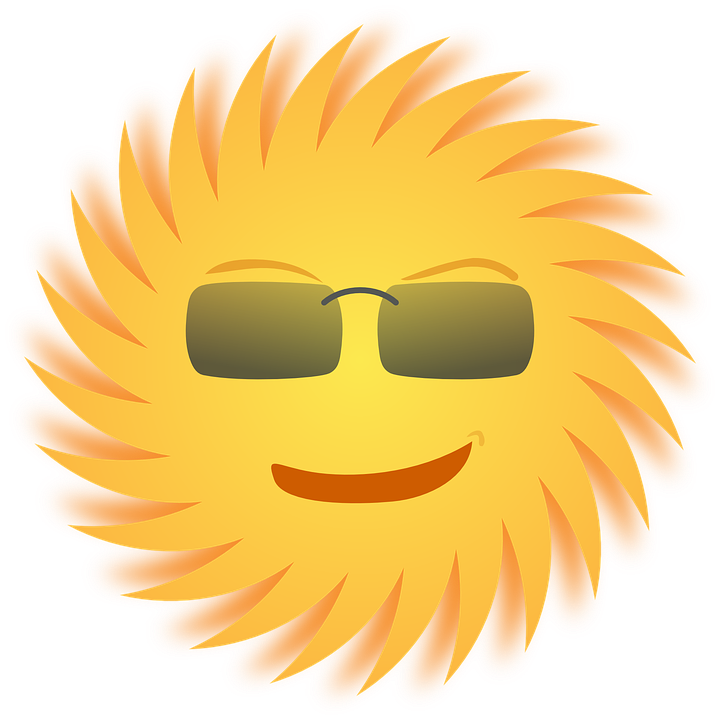 Sun, Sunglasses, Smiling, Yellow, Rays, Smiley