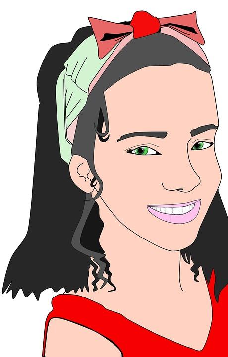 Girl, Face, Illustration, Vector, Red, Smiling